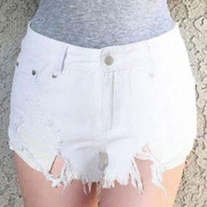 Pants - White Denim Distressed Cutoff Shorts